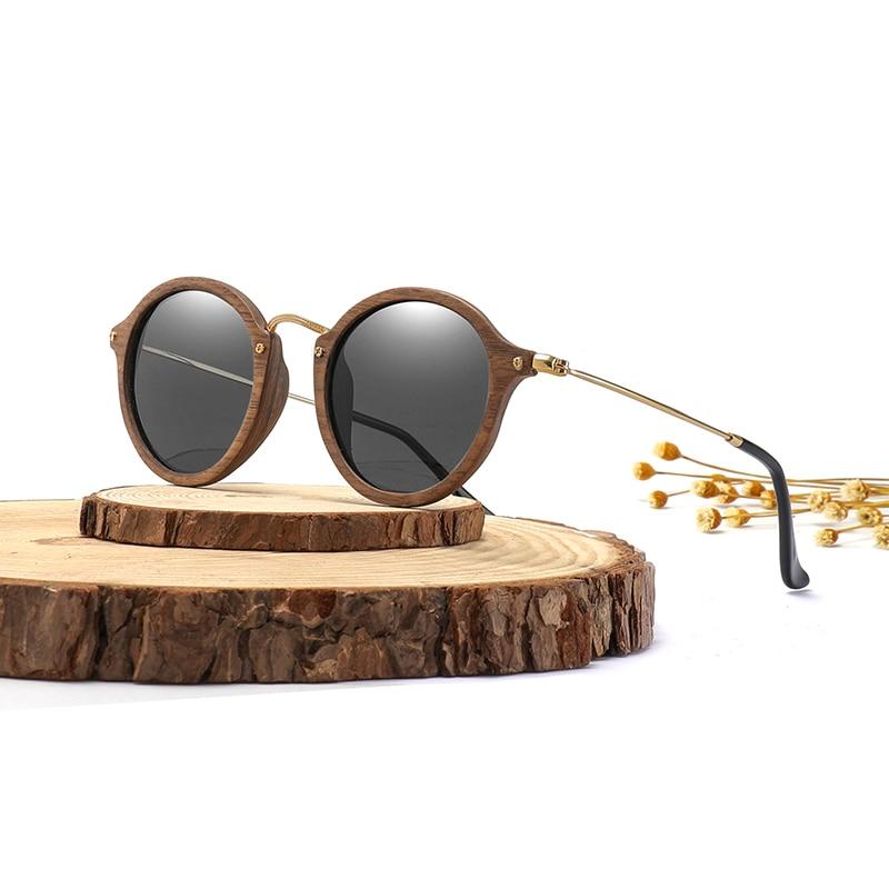 Men Wood Women Round Sunglasses Ultralight Polarized KTlF1Juc35